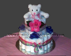 pink and purple bear diaper cake