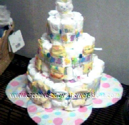 blue bear ribbon diaper cake
