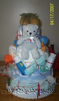 blue bear shoes diaper cake