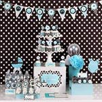 blue and black polka dot baby shower kit