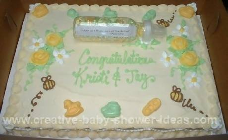 baby  bee shower bottle  cake