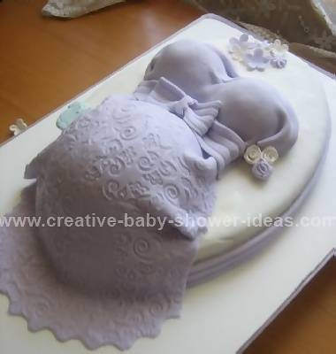 lavender lace baby shower belly cake