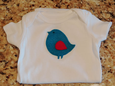 felt blue bird onesie