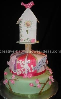 Gumpaste Bird House Baby Shower Cake on pink and green base