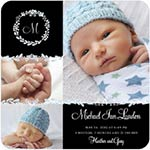 blue and black birth announcement with 3 cute baby pictures