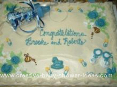 Blue  Brown Baby Shower Cakes on Blue Baby Bottle Cake