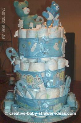 blue bears boy diaper cake
