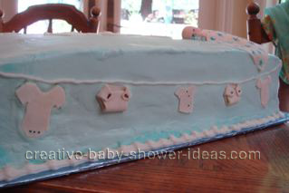 closeup of clothesline on blue cake