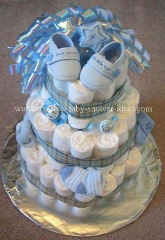 boy diaper cake with blue slippers