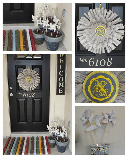 book wreath and pinwheels for baby shower
