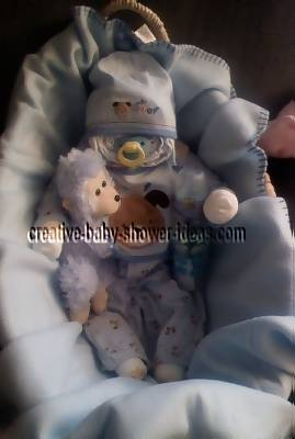 blue boy diaper baby in basket