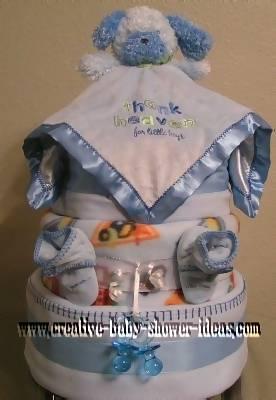 thank heavens for little boys bear diaper cake