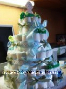 side view of sweet pea boy diaper cake
