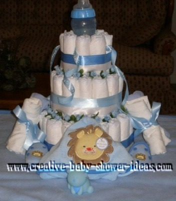 boy and bottle diaper cake