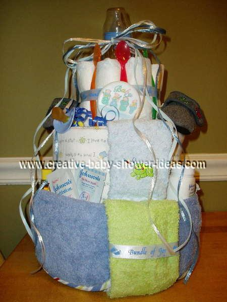 blue and green boy diaper cake