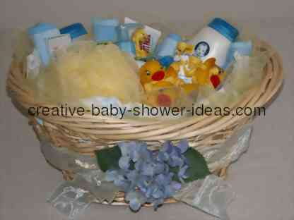 baby basket centerpiece filled with baby supplies