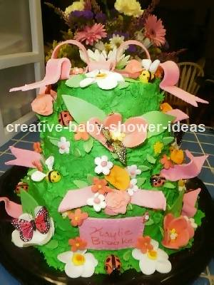 Green Bugs and Flowers Cake