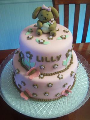 pink and brown bunny baby shower cake