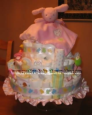pink lovey bunny diaper cake