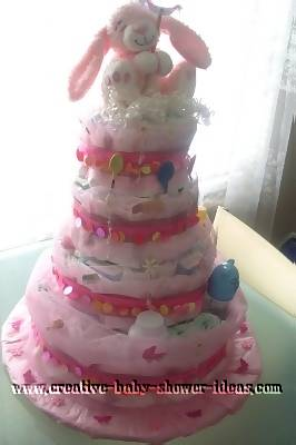 pink girly bunny diaper cake