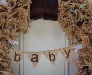 Burlap Baby Shower Wreath