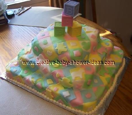 colorful baby blocks quilt cake