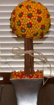 candy corn topiary bouquet with mellow creme pumpkins