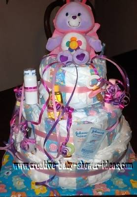 care bear diaper cake