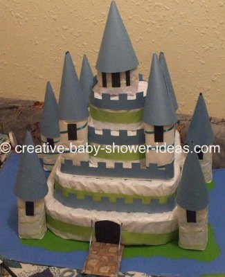 green and blue castle diaper cake