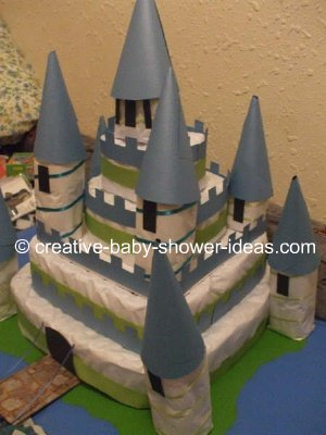side view of castle diaper cake
