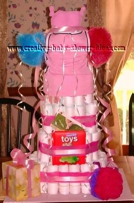back of cheerleading diaper cake