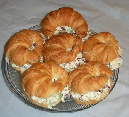 chicken salad crossiants for a baby shower