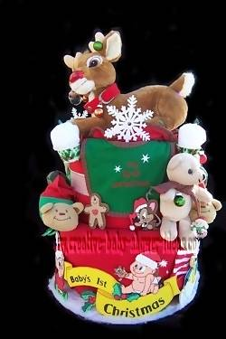 baby's first christmas reindeer diaper cake