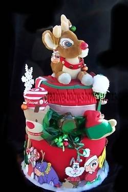 side of christmas diaper cake showing animated cartoon characters
