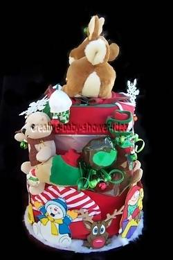 back of christmas diaper cake showing christmas items