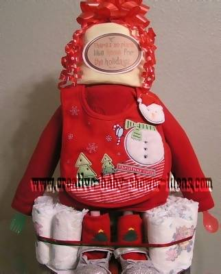 christmas baby diaper cake with cute outfit