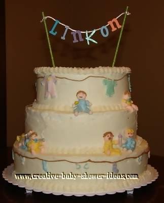 little babies baby shower clothesline cake