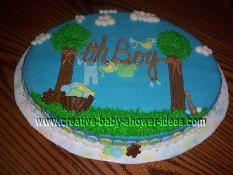 outside baby clothesline shower cake