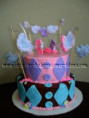 pink and brown clothesline cake