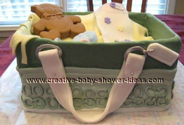 green diaper bag purse cake