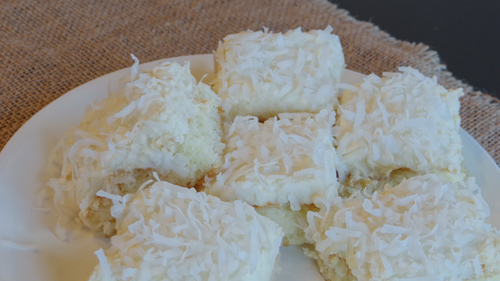 closeup of coconut cake