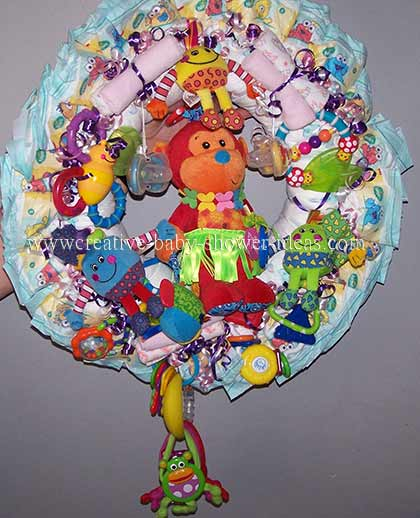 colorful toys diaper wreath