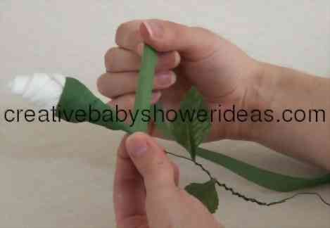 wrapping floral tape to rose stem