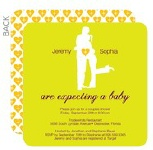 couples hugging with a heart baby shower invitation