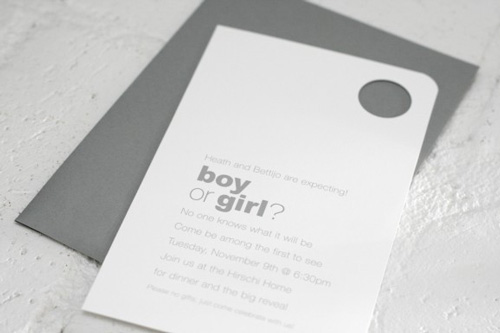 grey and white gender reveal invitation