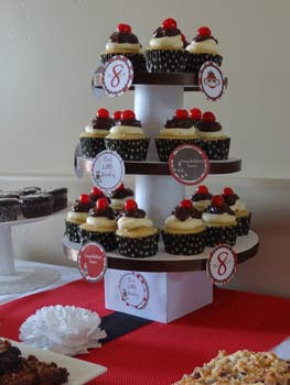 homemade cupcake stand with brown trim and banana split cupcakes