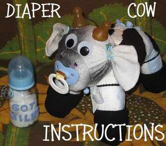 black and white diaper cow