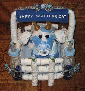 blue and white camo diaper cow