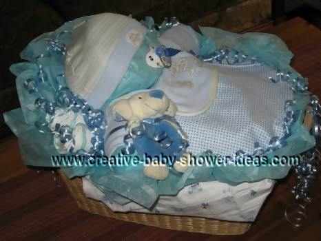 blue diaper baby in basket