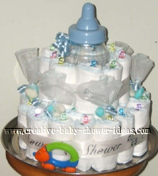blue baby bottle diaper cake